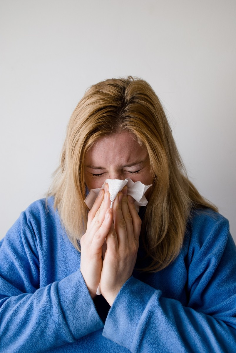 If you...have a bad cough or cold where you are blowing your nose constantly, for goodness sake, stay home.