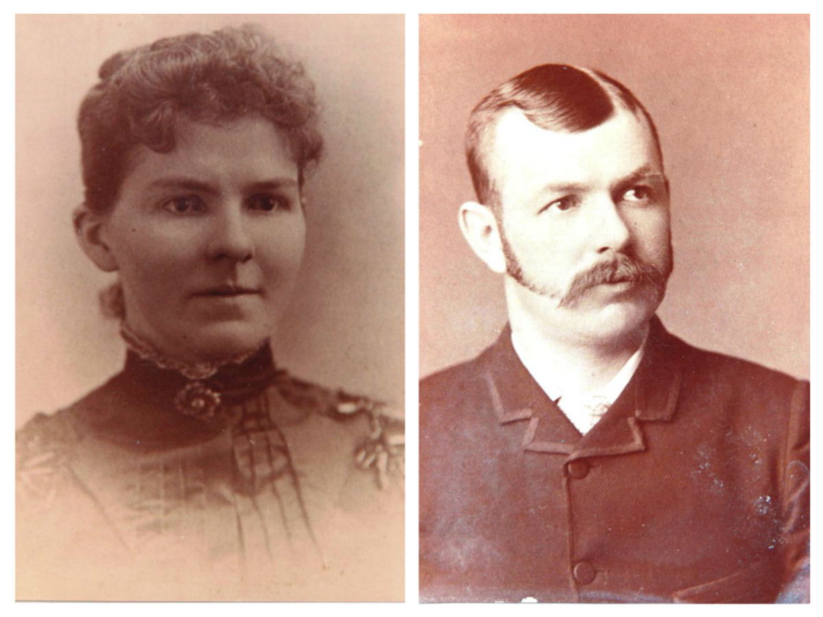 Maggie Fraser and C.E. Flatt, likely on their wedding day, April 29th, 1891