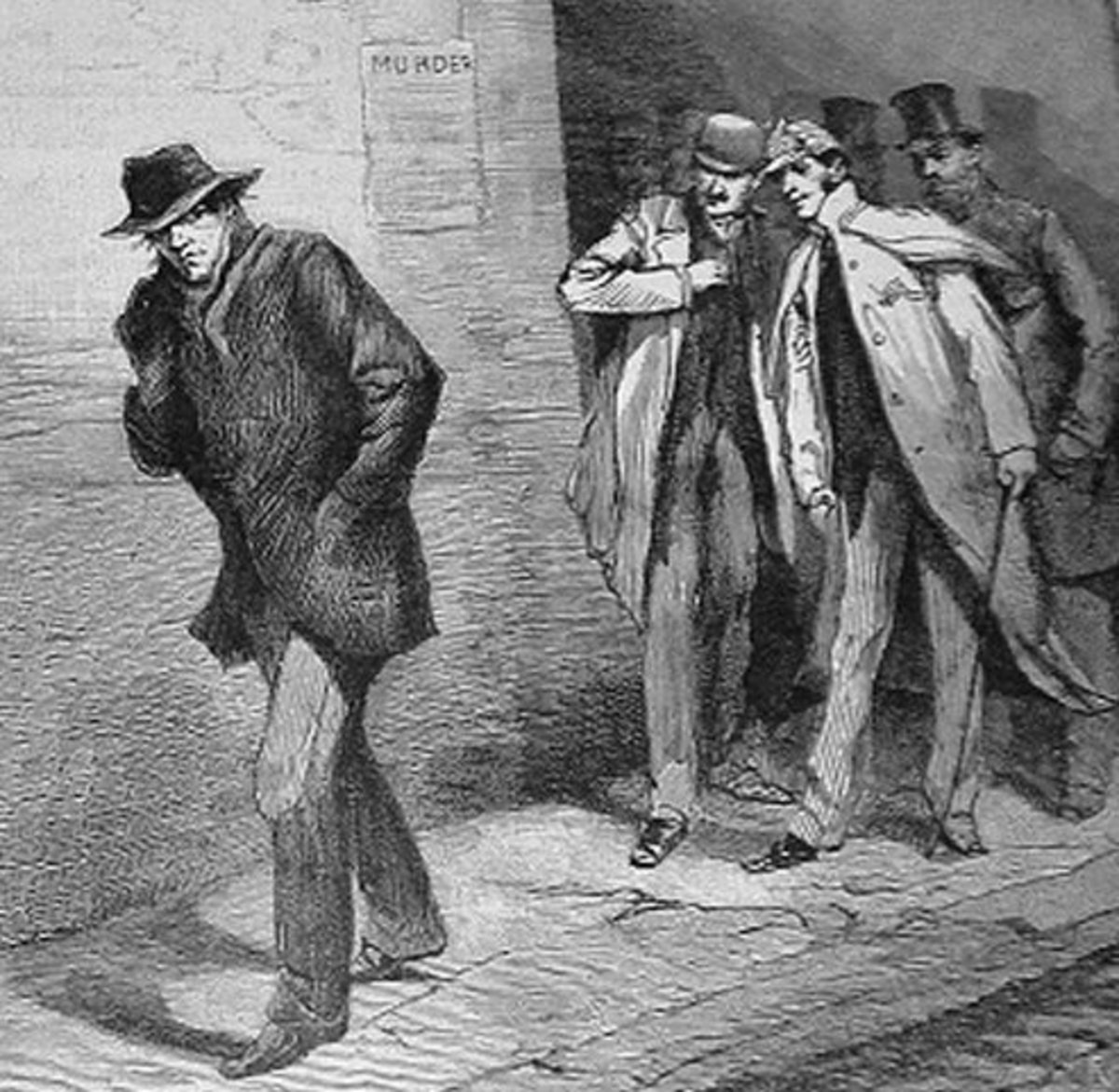 Man in dark clothing is an obvious Jack-the-Ripper suspect. Two men in background resemble Sherlock Holmes and Watson. Several fictional novels included them together.