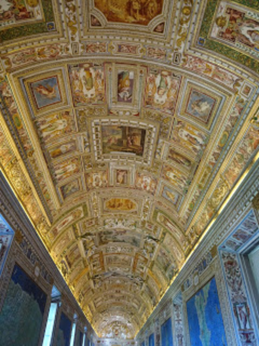 Hallway leading to the Sistine Chapel.  EXTREMELY beautiful!