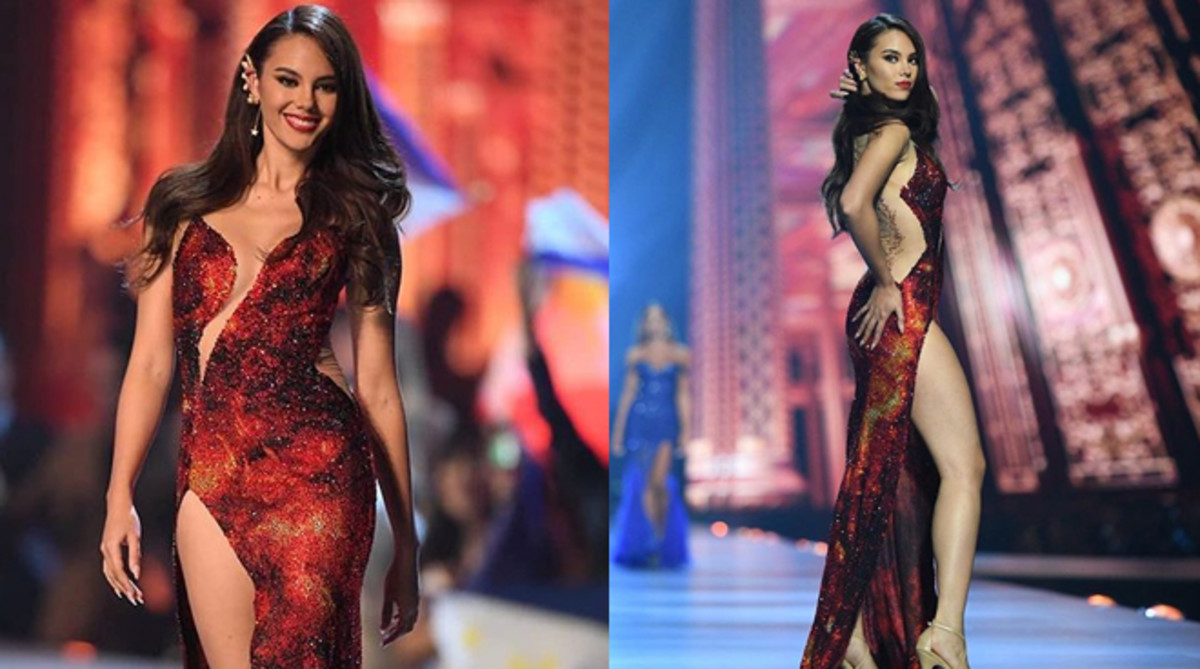 2018 Ms. Universe Catriona Gray wearing the  Mayon Volcano lava inspired gown during the competition.