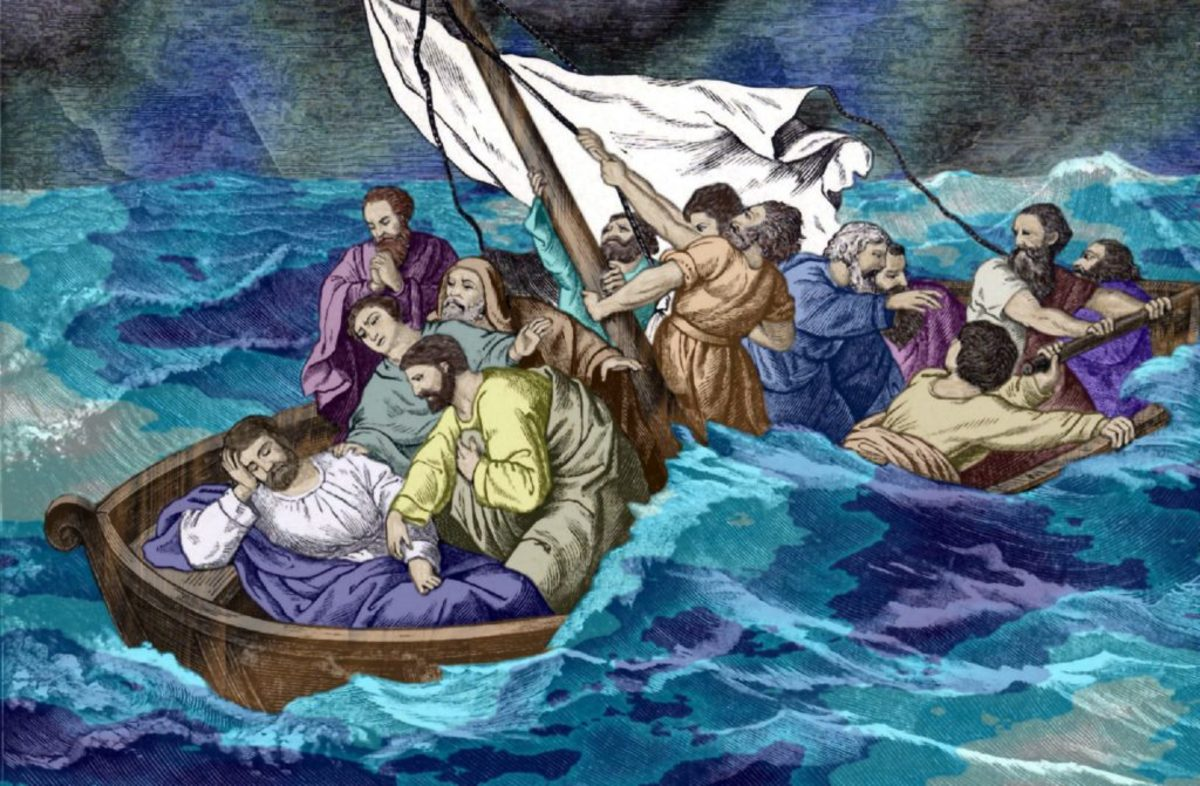 Jesus asleep in the boat during a furious storm