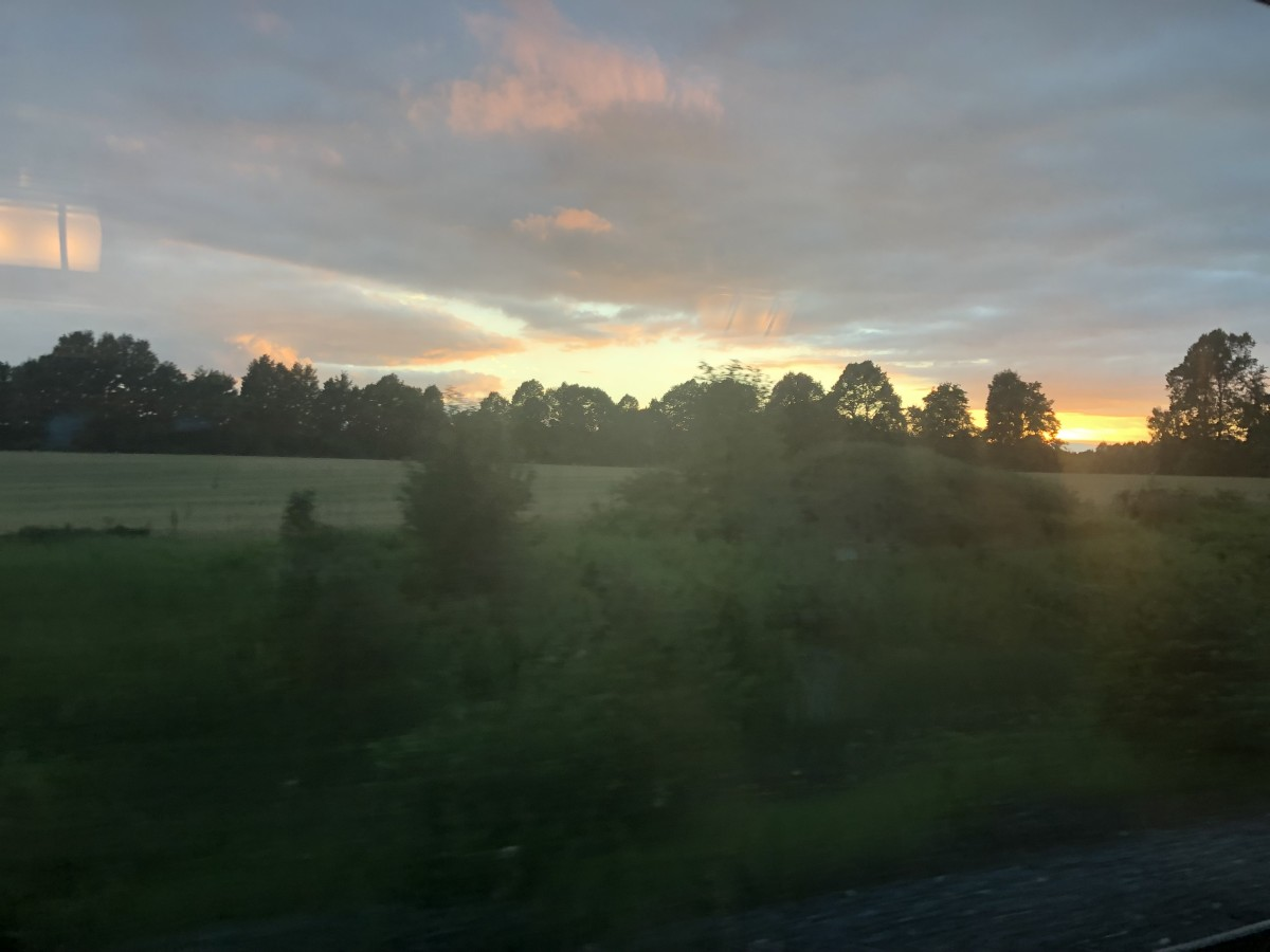 Beautiful Canada through the window of a moving train
