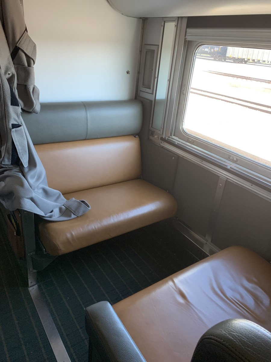 During the day, the berth is a seating area and can also have a table set up between seats for board games and cribbage and the like