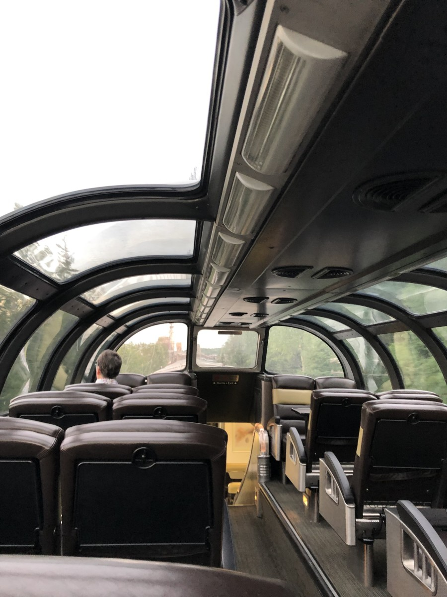 View from the seat of a Skyline dome car