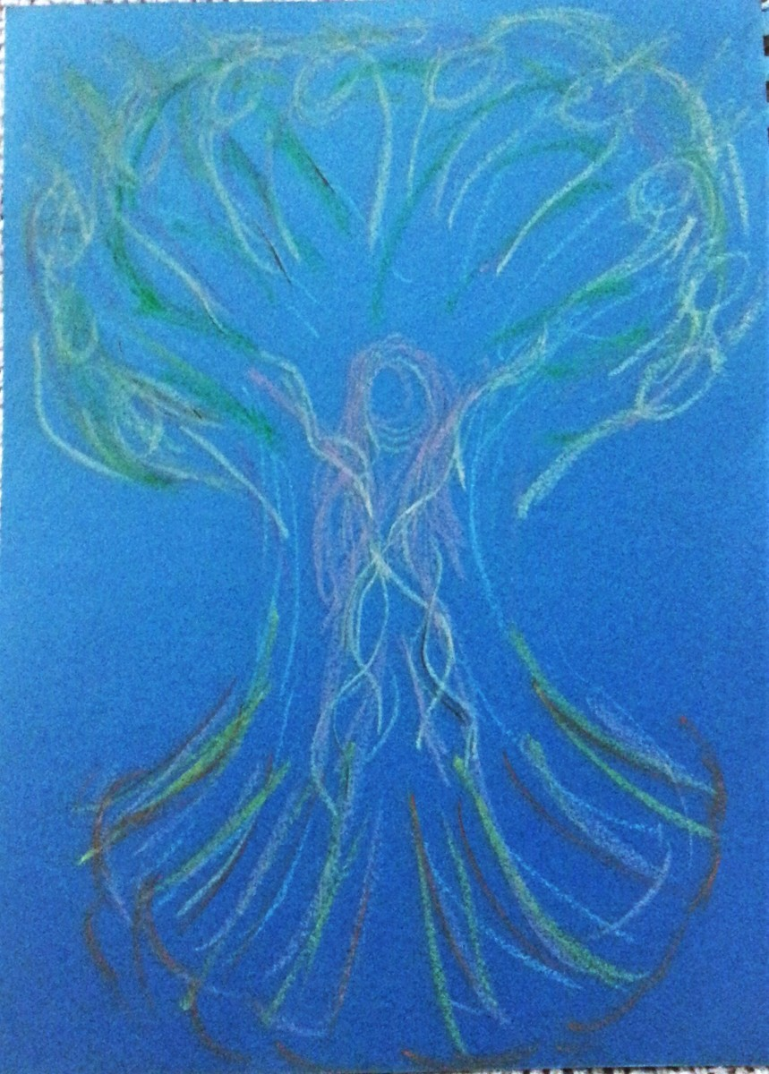 """My first drawing from our 2012 """"TutSabbat"""" annual January Moon circle as an homage to the """"Sacred Eden Tree"""" card from my """"Heart and Soul Angel Cards"""" deck"""