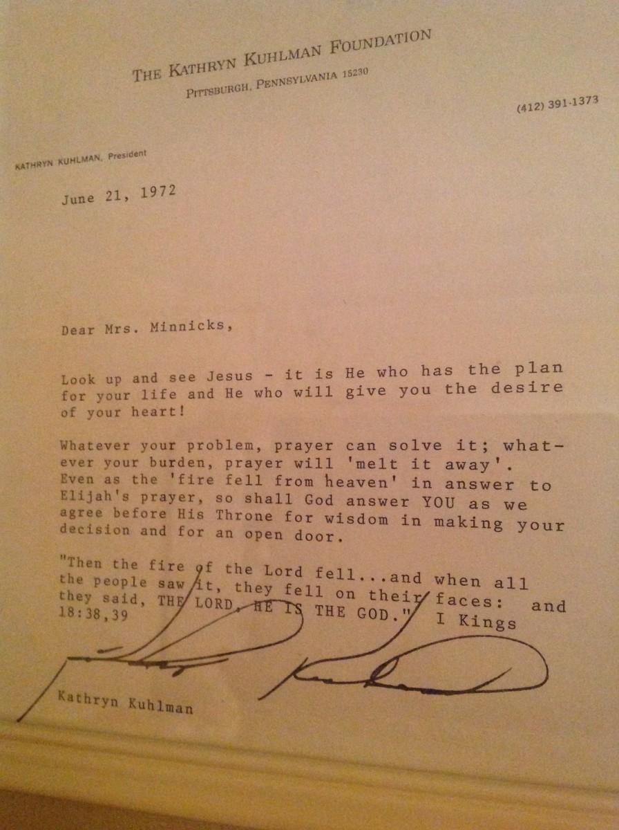 Letter from Katherine Kuhlman, 1972
