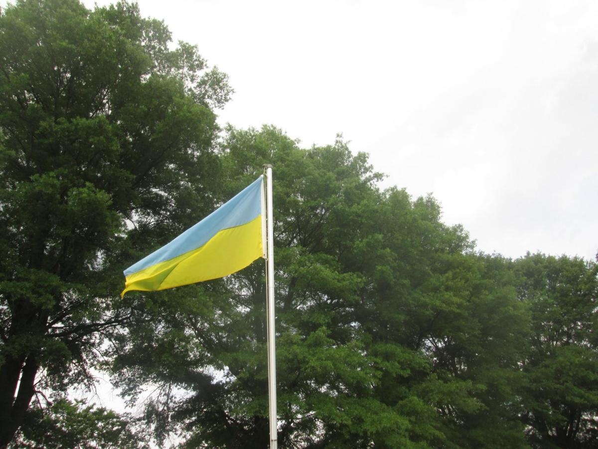 Ukrainian flag positioned at Harford Community College in Bel Air, Maryland