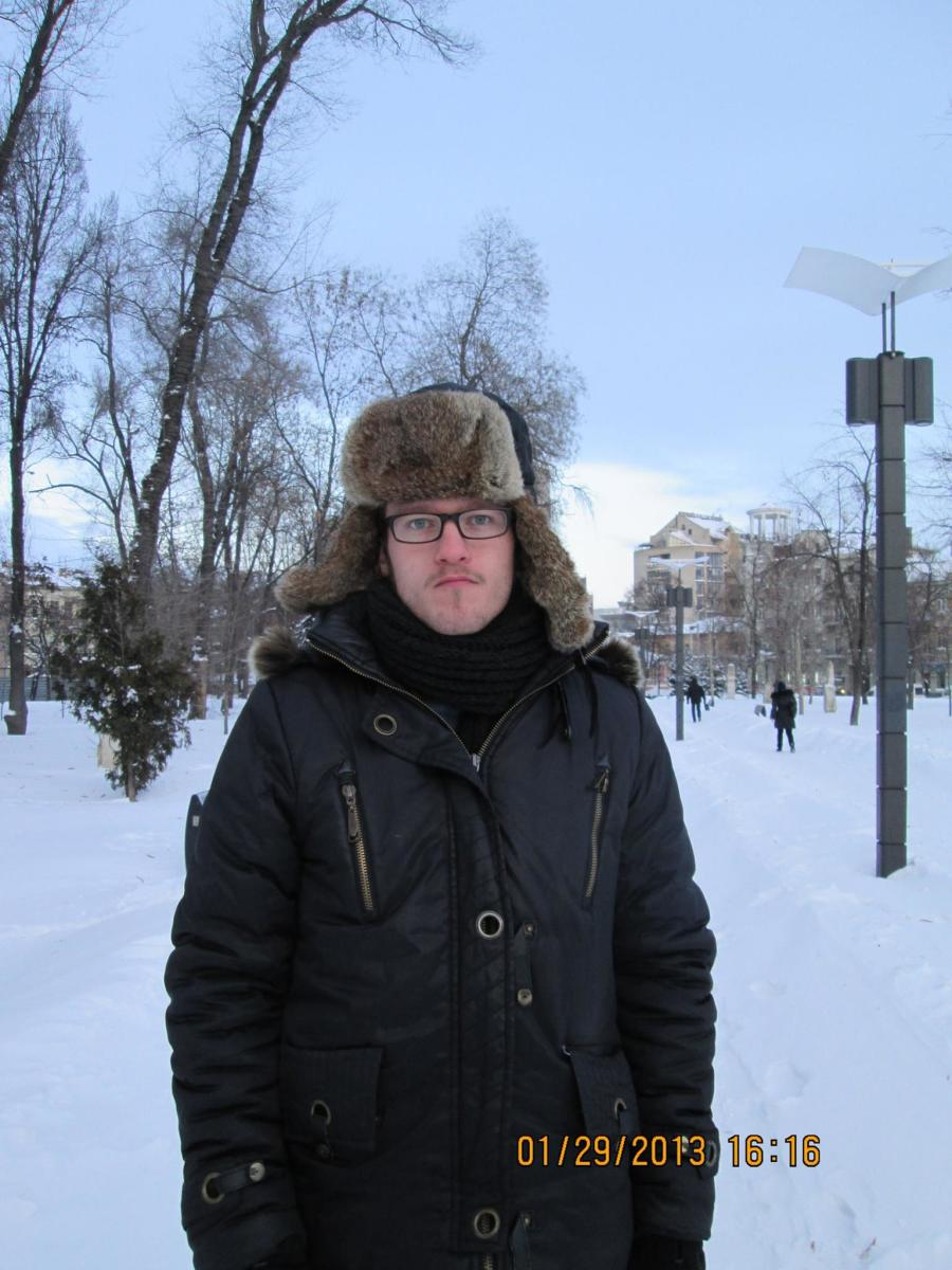 Me in the cold of Dnipropetrovsk Oblast, Ukraine