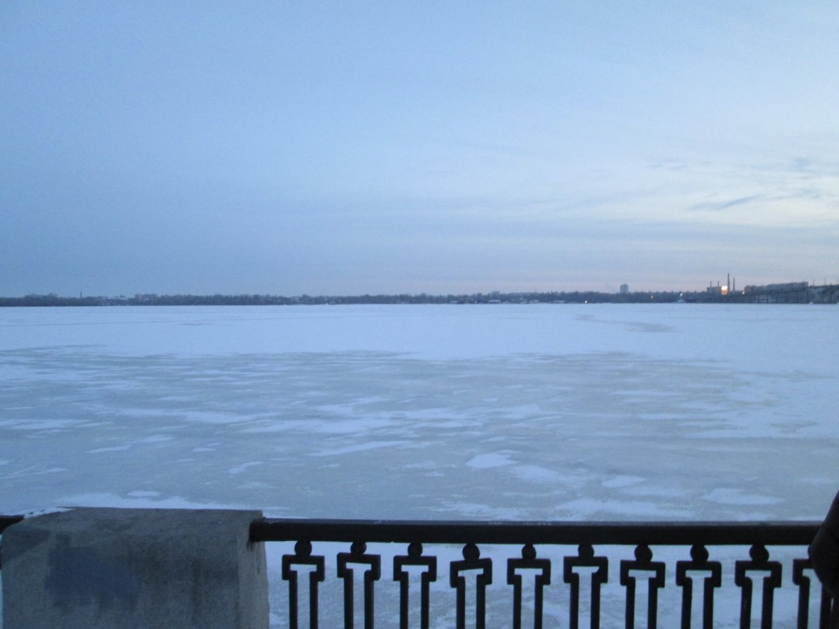 Frozen lake in the Dnipropetrovsk Province, Ukraine