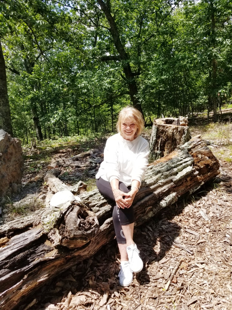 Author stops for a rest on her morning hike through the forest.