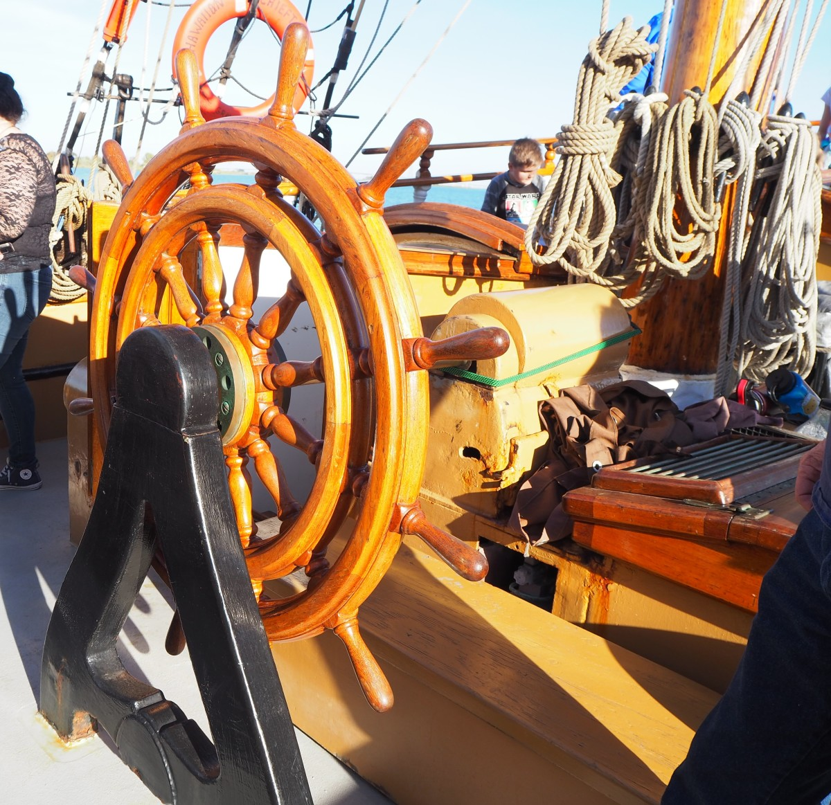 The compass binnacle is just forward of the wheel, so the person steering the ship can easily see it.