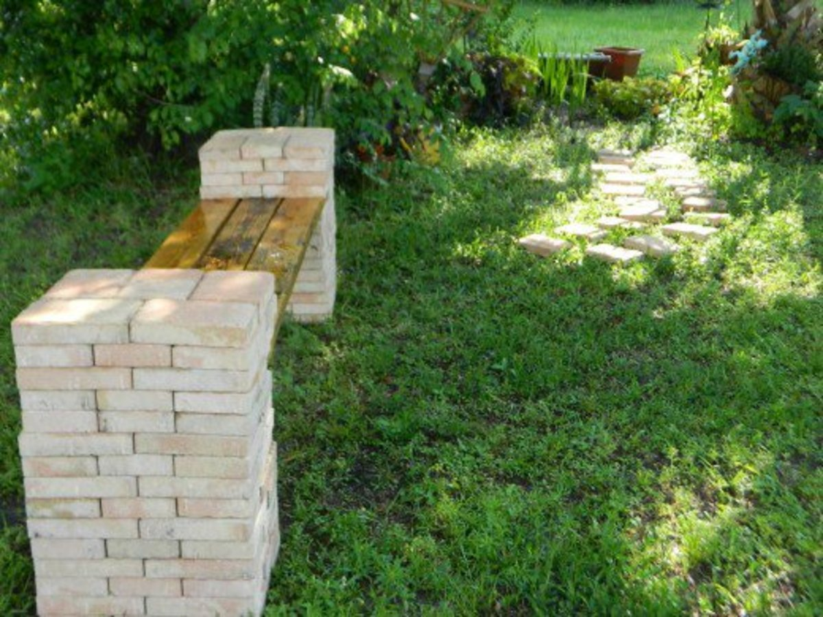 This is the DIY bench I erected for a memorial garden bench for my nephew. I know he will be glad the kitties are dining on it.