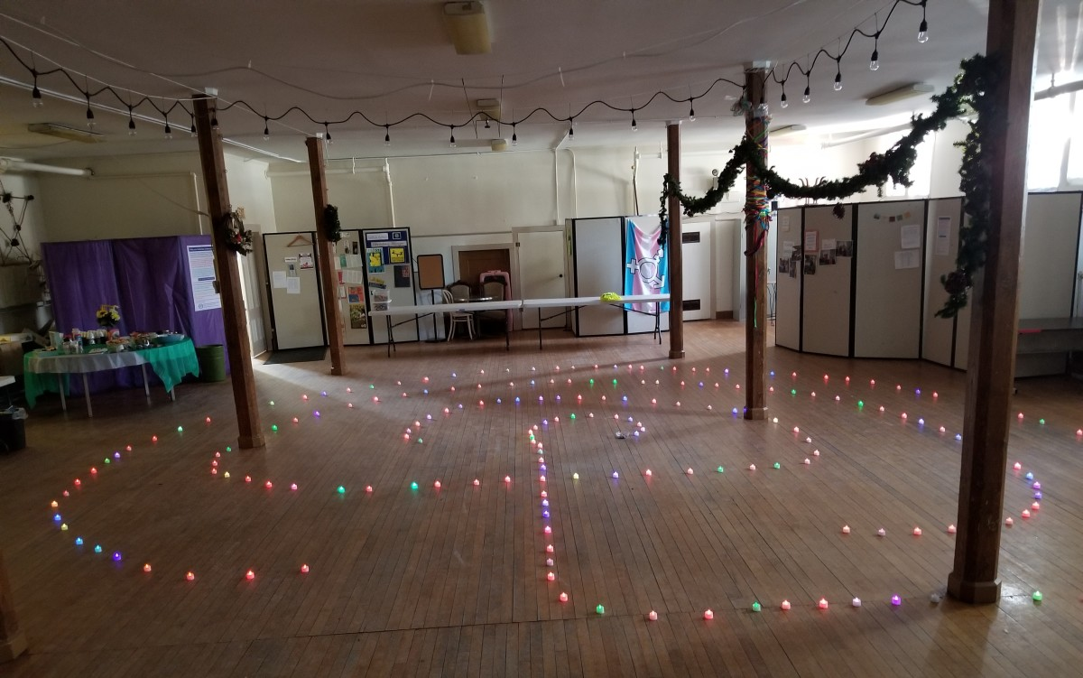 Walking on a labyrinth path of lights is like walking inside a rainbow.  It's magical!  This is the path I built at my UU church for the type of meditation on Awe and Wonder included in this article.