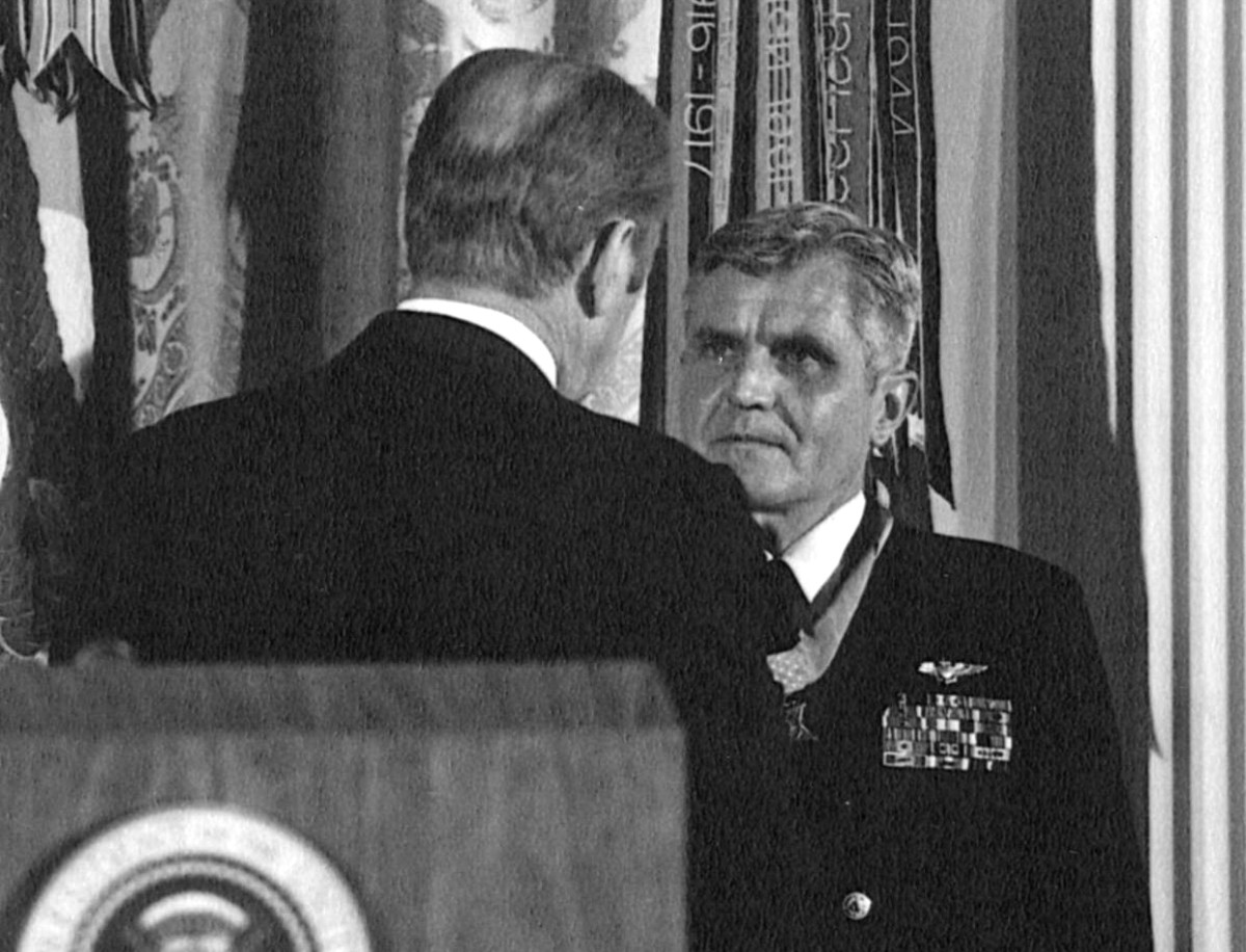 4 March 1976 - President Ford presents the Medal of Honor to Rear Admiral James Bond Stockdale