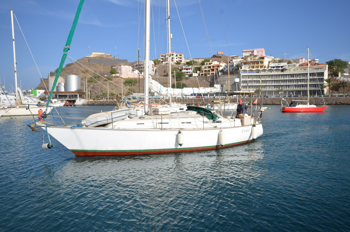 Tony Meakin and 'Cariad' S34, leaving Mindelo, Cape Verdes to begin his Transat. December 2018