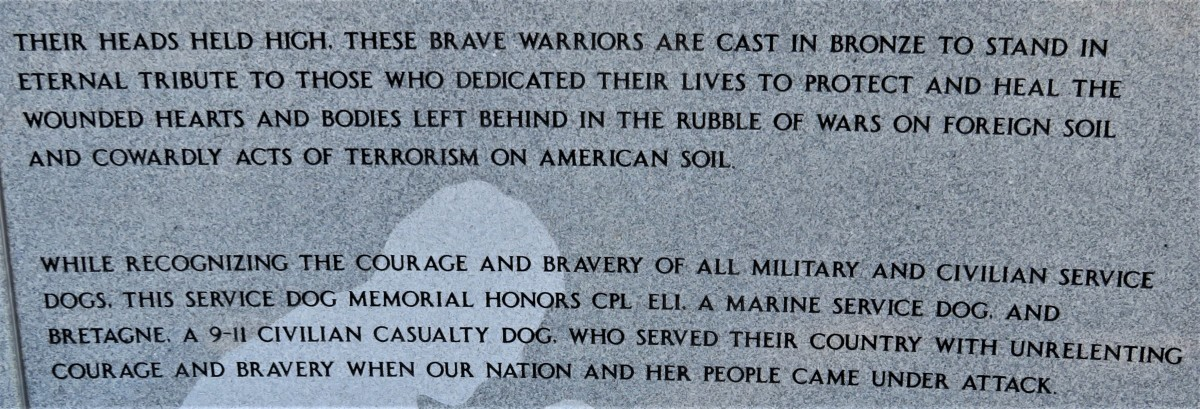 Inscriptions on granite regarding these dog heroes