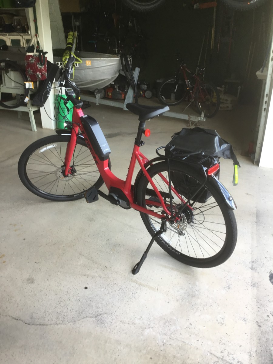 Our brand new Class 1 e-bike parked in the garage on the day we brought it home