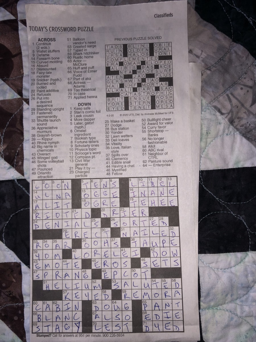 Solved crossword puzzle from 2 April 2020 edition of Moscow-Pullman Daily News