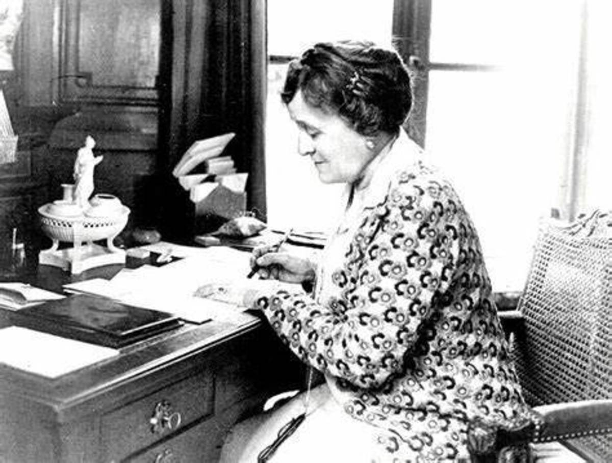 Edith Wharton working at her writing desk