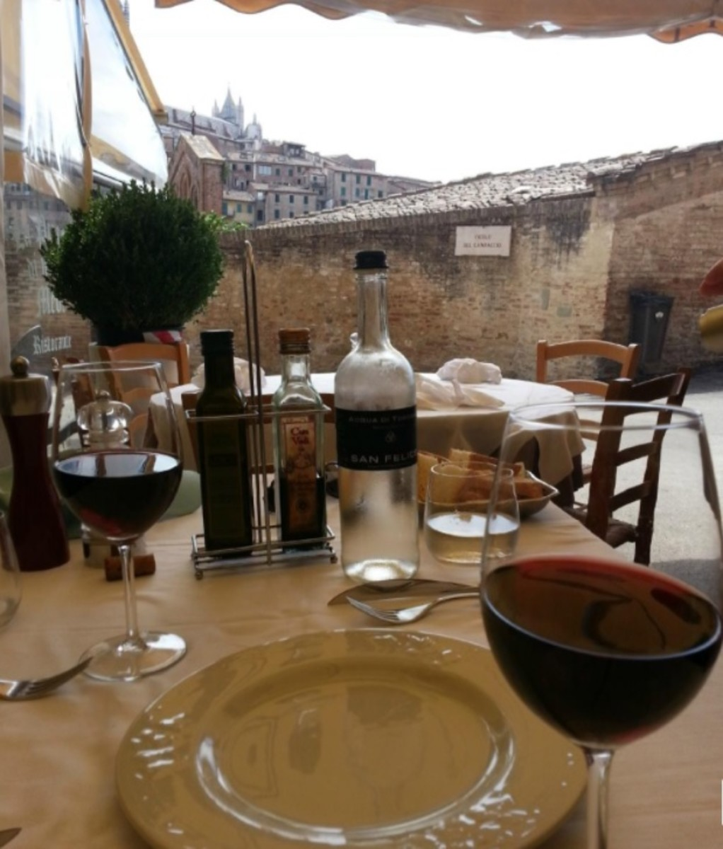Table for two at Ristorante San Domenico, Siena, Italy