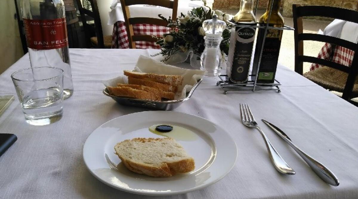 Tuscan bread, olive oil, and balsamic at  Ristorante San Domenico, Siena, Italy
