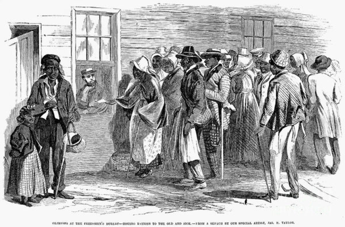 Illustration of people at Freedmen's Bureau