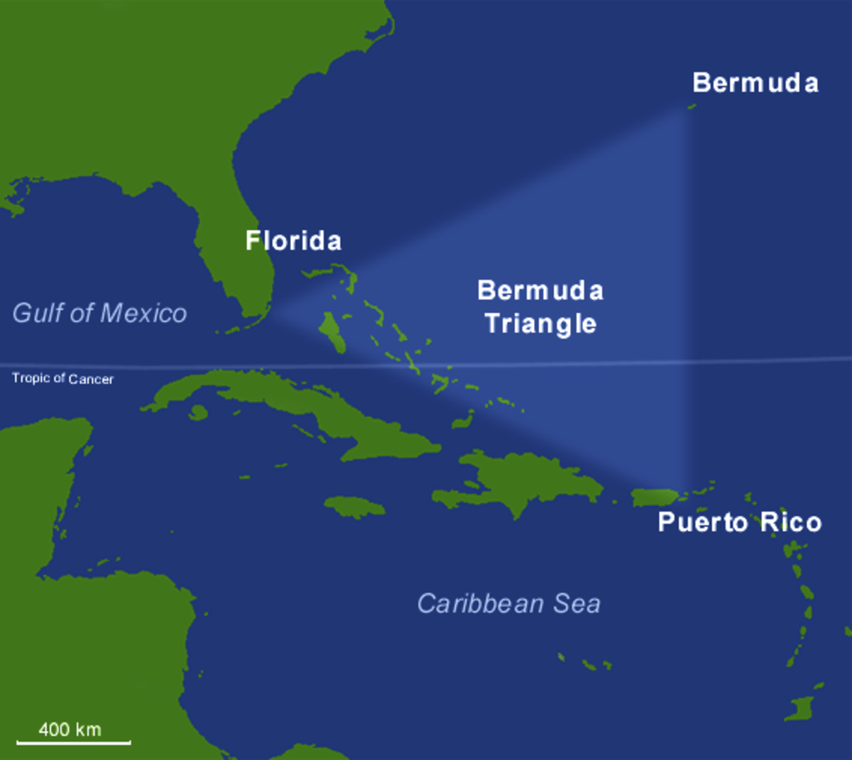 The Bermuda Triangle is located from Florida to Bermuda to Puerto Rico.