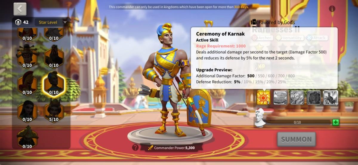 Ramesses II's First Skill Description