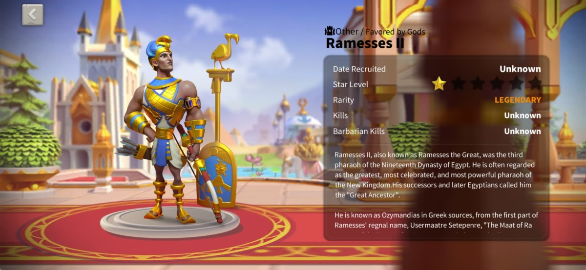 """Ramesses II Profile Page in """"Rise of Kingdoms"""""""