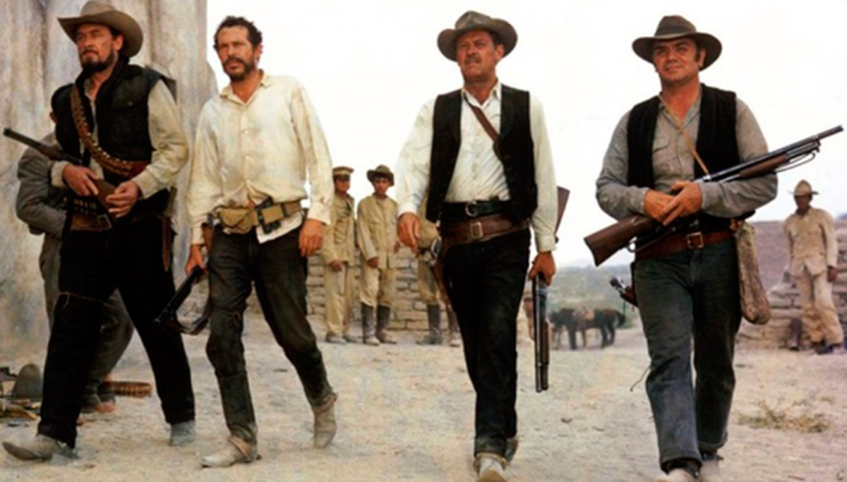 "Scene from ""The Wild Bunch,"" when they confront General Mapache and his many soldiers"