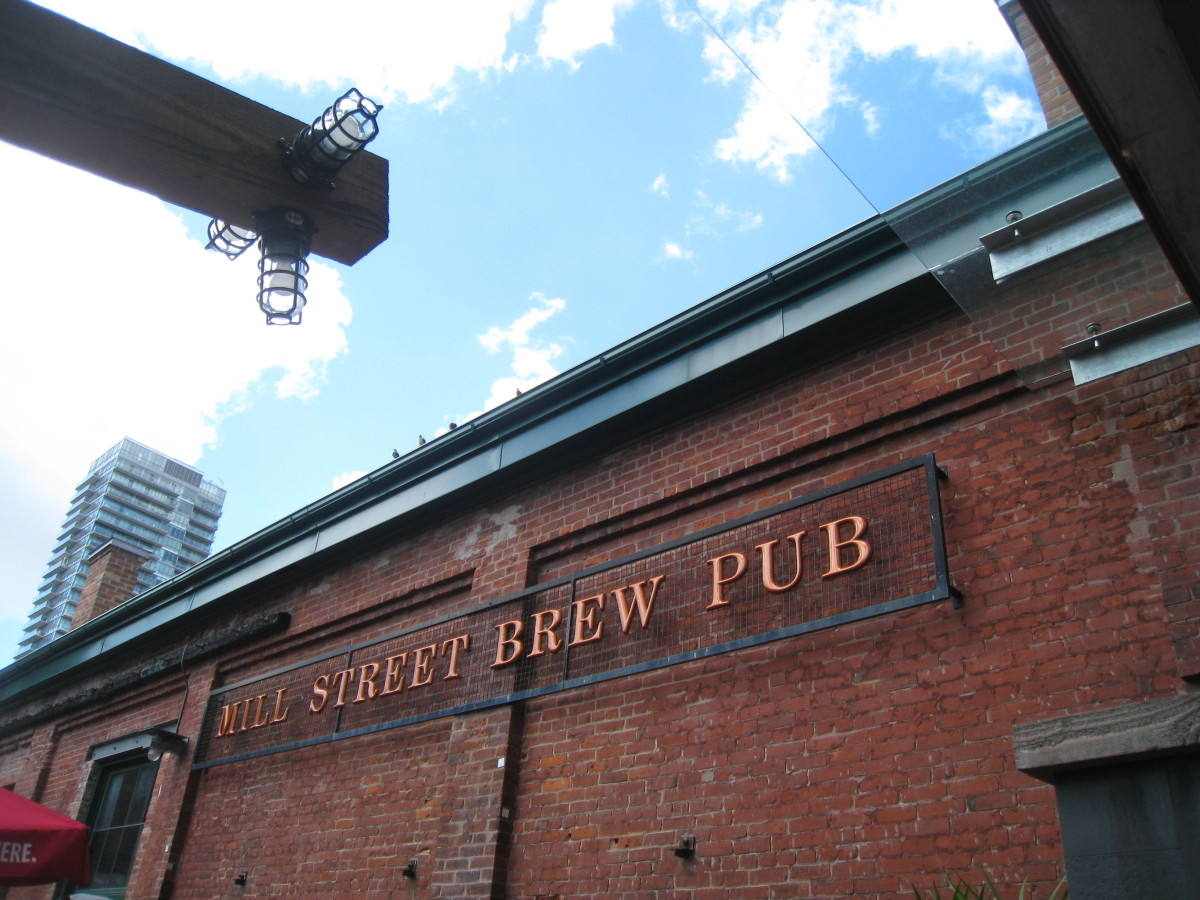 The Mill Street Brew Pub sign, right outside of the restaurant, close to the entry.