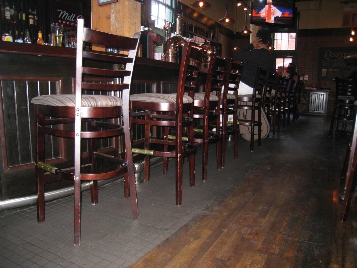 Bar seating area of Mill Street Brew Pub.