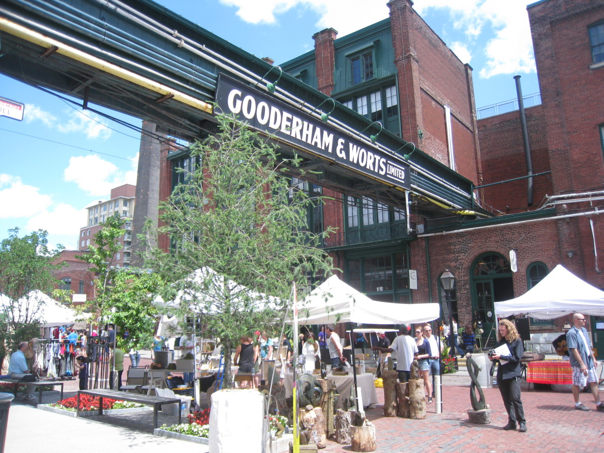 The main street of the Distillery District where many tents are set up each week.