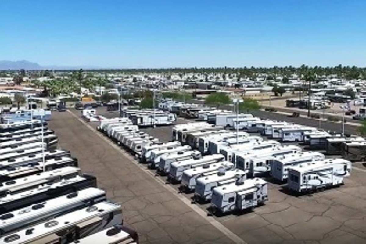 RVs on a typical dealers lot waiting for the next buyer to show up.