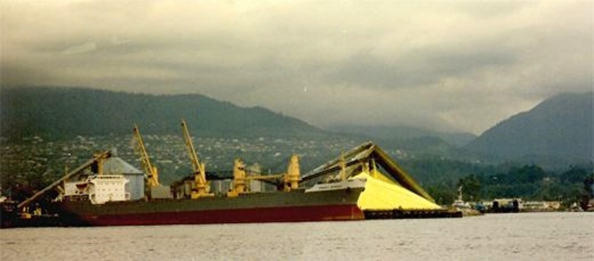 Sulfur being loaded onto a ship for export from Vancouver