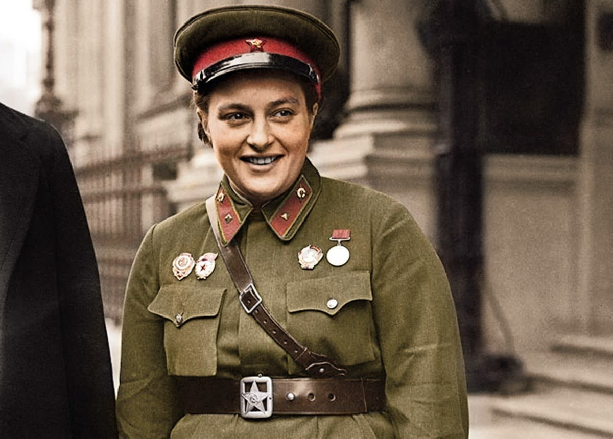 Lyudmila Pavlichenko during publicity tour