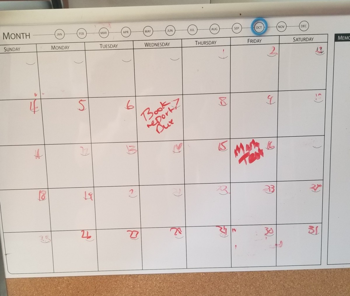 A calendar can make it easy to keep track of assignments.