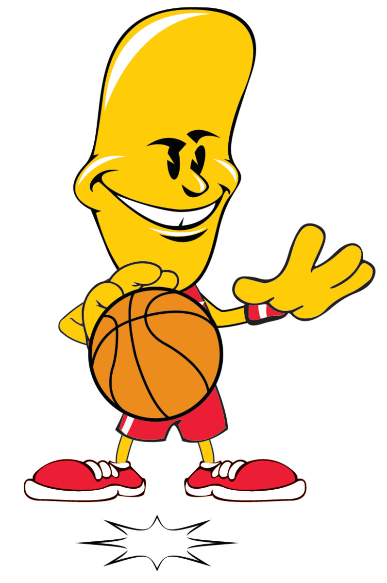 Jimbo Jelly Bean dribbling shielding the basketball