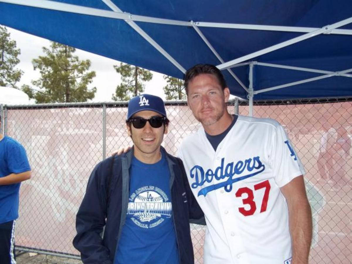 Darren Dreifort (right) and fan