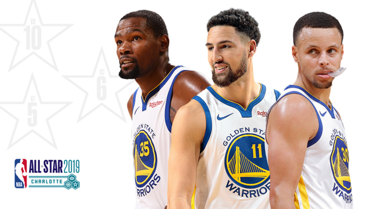 Kevin Durant, Klay Thompson, and Stephan Curry 2019 NBA All-Stars from the Golden State Warriors