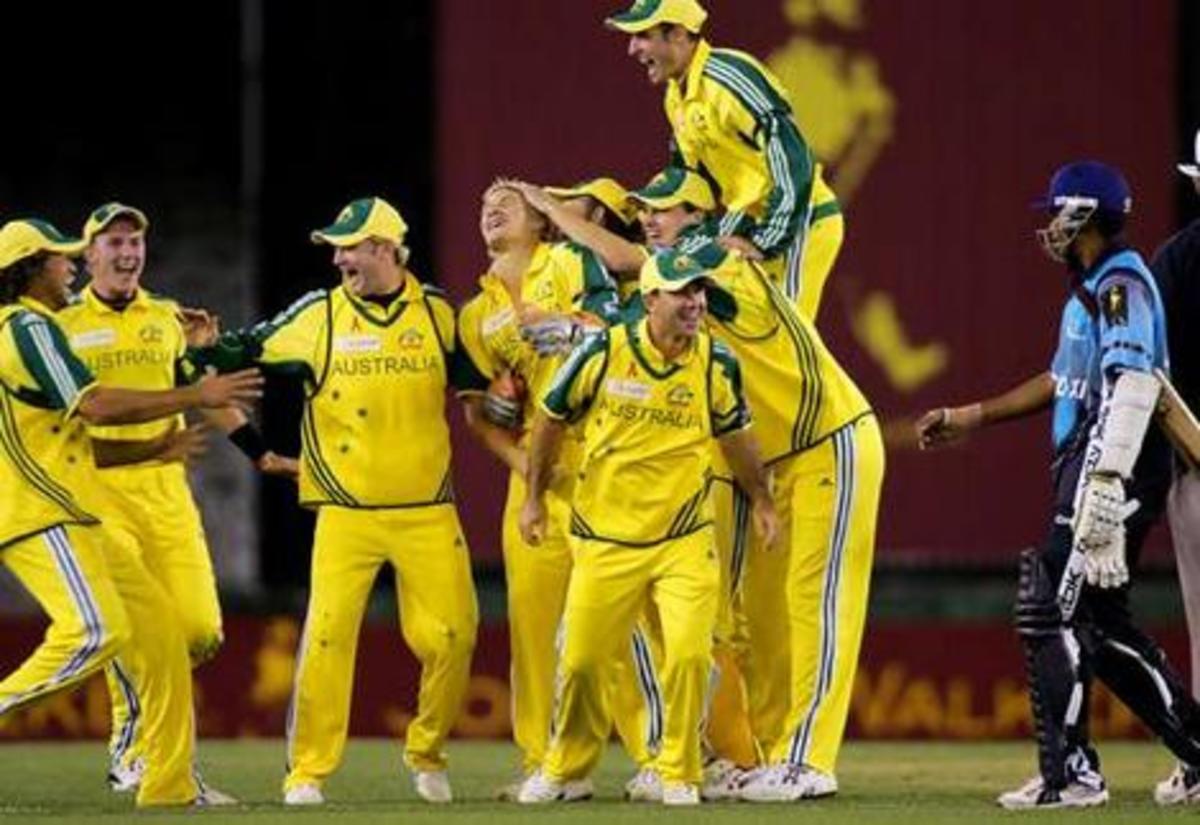 Australia's cricket team celebrates a victory
