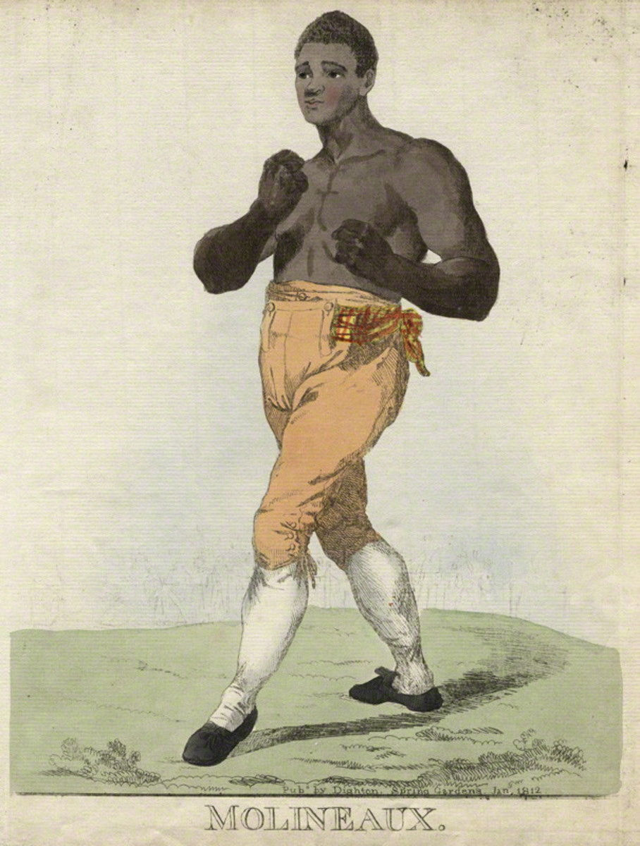 "Tom ""The Moor"" Molineaux was an African-American bare-knuckle boxer.  Born into slavery in 1784, he won a large amount of money for his owner in bets.  He later boxed in Britain and Ireland.  He died aged 34 after sinking into alcoholism."