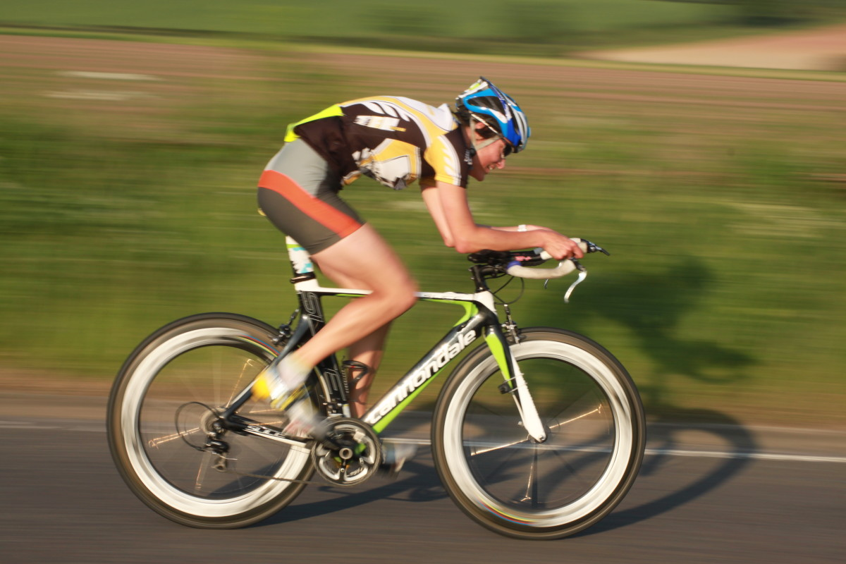 With the right training you can ride a faster time trial. Bicycle pictured is an awesome looking Cannondale Slice with deep section Zipp 808 wheels