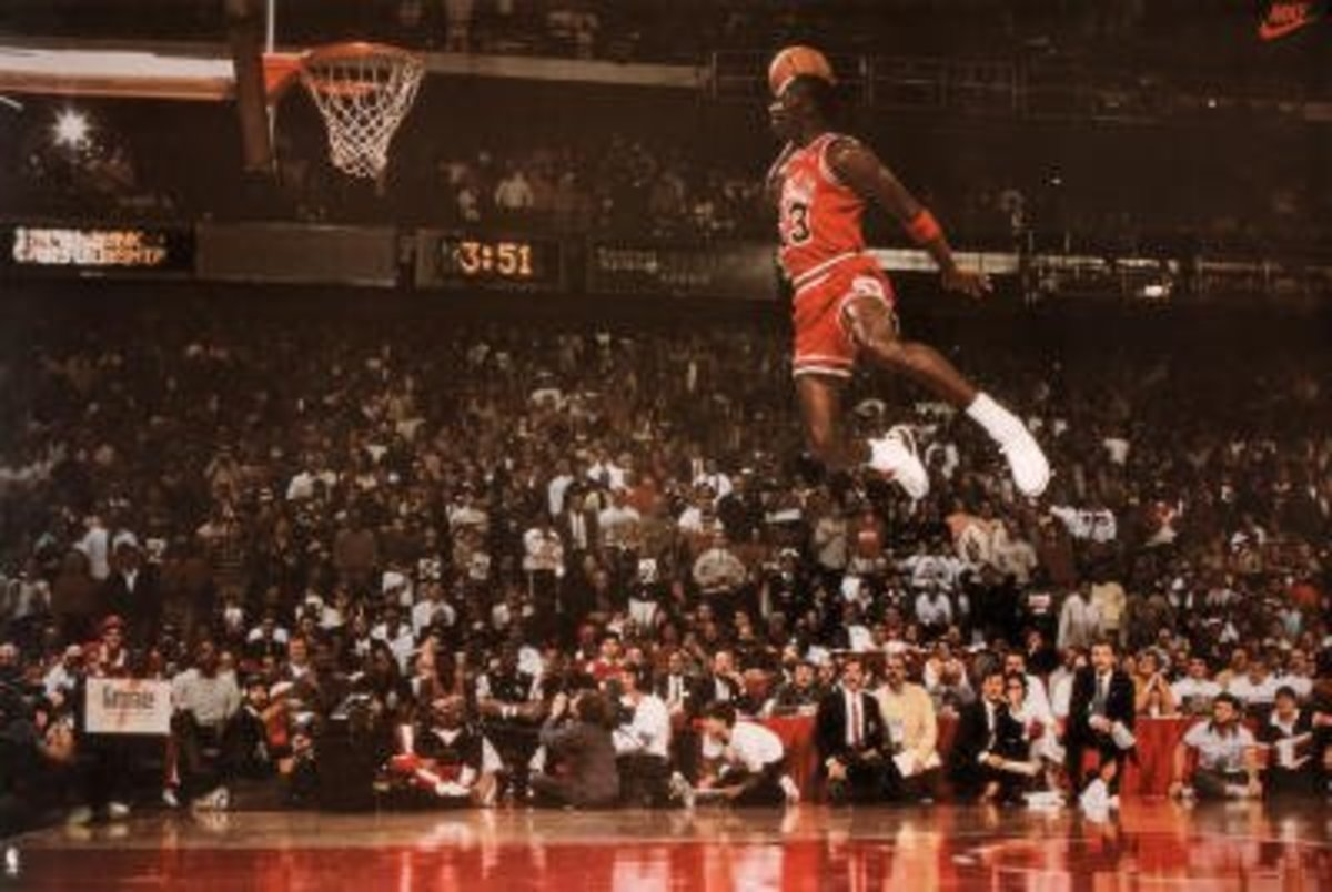 The famous poster capturing one of Michael Jordan's most iconic moments of his career and sports in general.