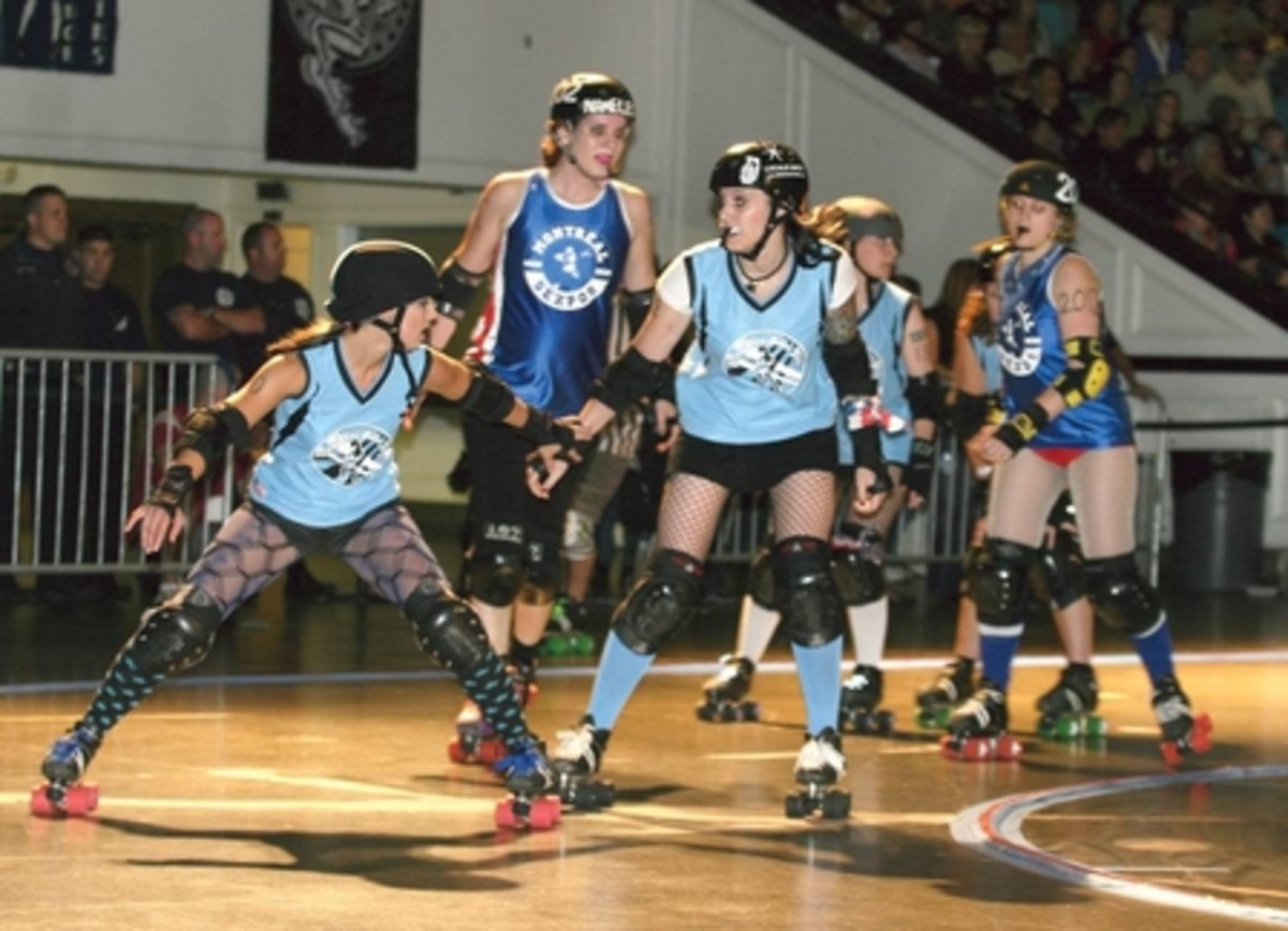 Roller derby skater using a plough stop