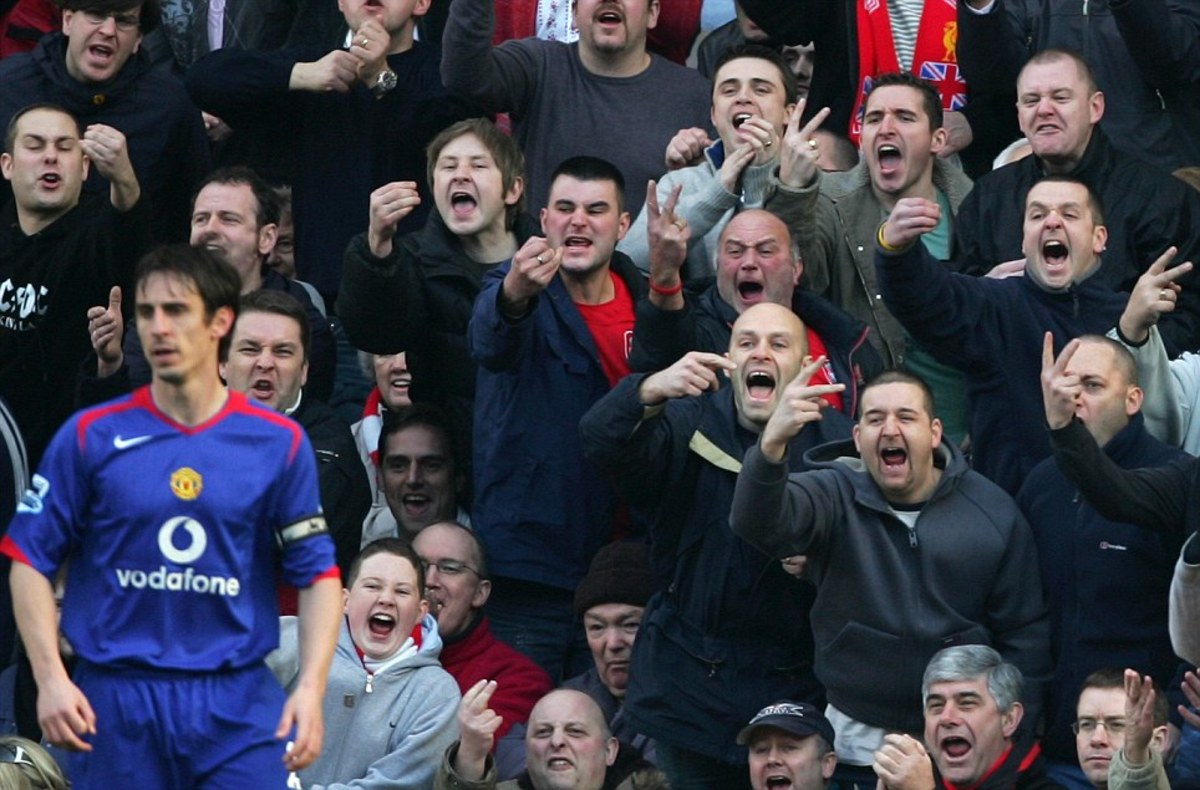 Liverpool fans wishing Gary Neville of Manchester Utd. all the best for the future