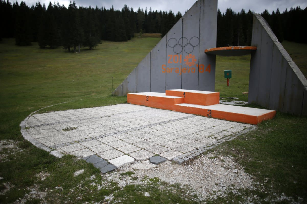 What's left of the Medal Podium at Sarajevo. In the years following the war, this site became a place for public executions.