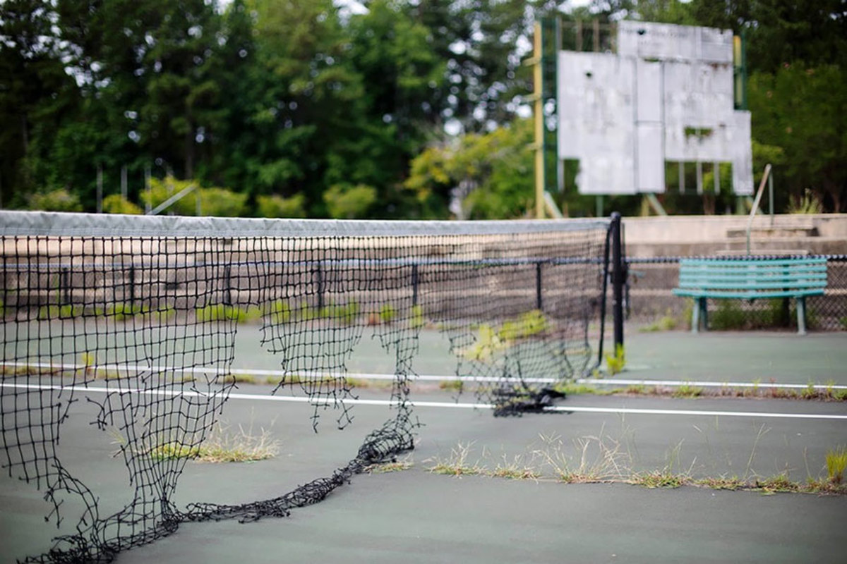 Courtside at the Stone Mountain Complex shows the level of decay since the Games ended.