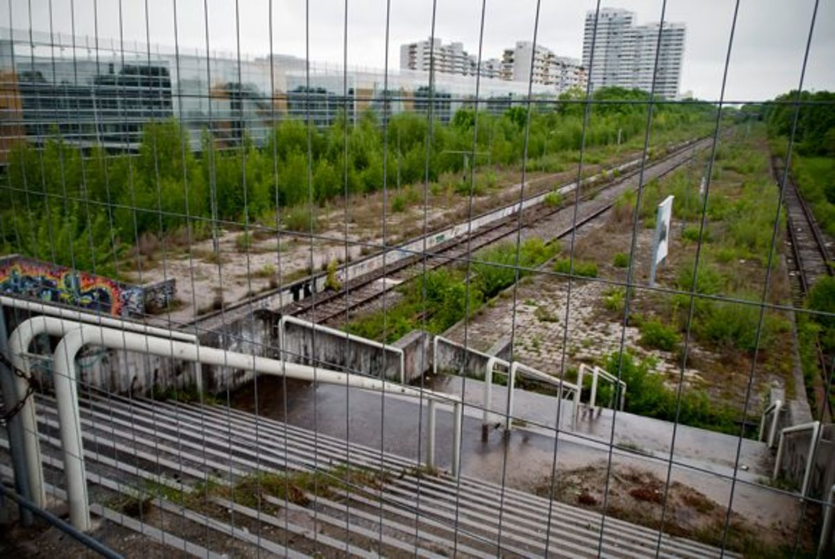 The abandoned Olympic Park train station.